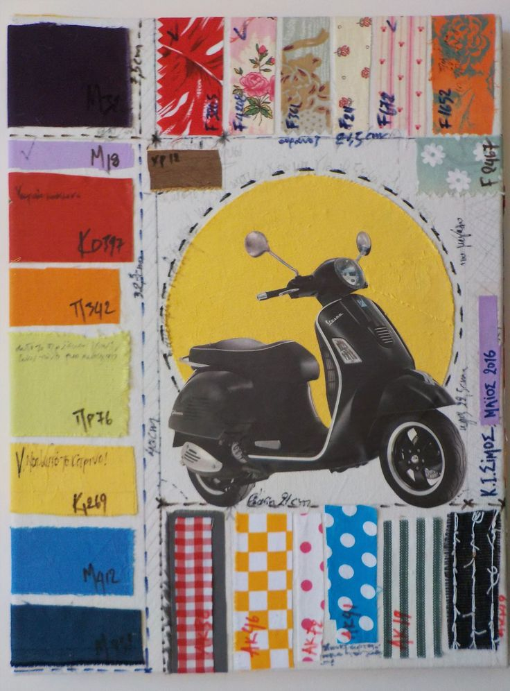 "K I Simos - ""Vespa"" - Fabrics and paper on canvas"