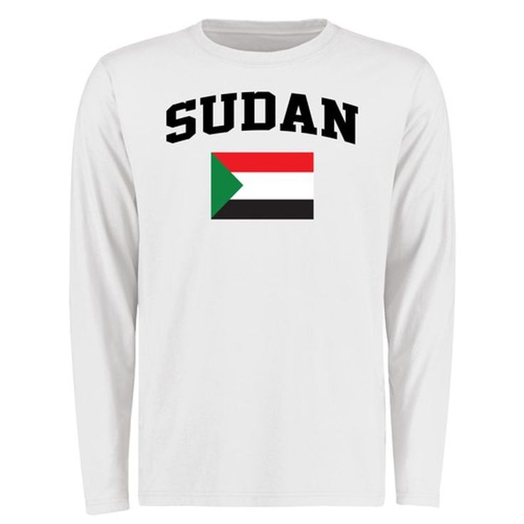 Sudan Flag Long Sleeve T-Shirt - White