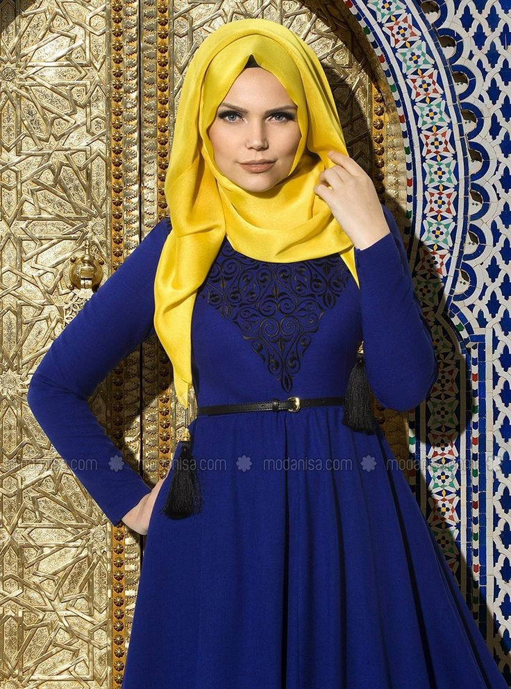 Embroidered Evening Dress - Royal Blue - Muslima Wear