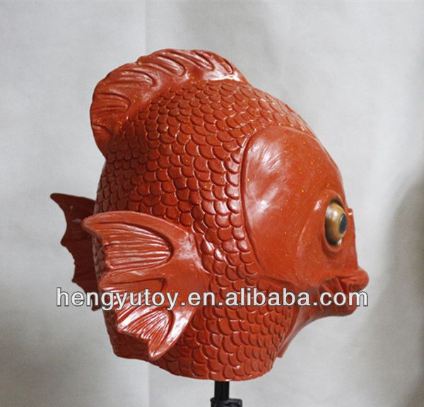 FULL SIZE Life-Life Realistic Costume Adult HEAD Latex Red Fish Mask