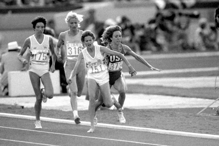 August 10,1984: ZOLA BUDD AND MARY DECK CRASH INTO EACH OTHER AT THE OLYMPICS  -   During 1984 Olympic 3000 meters women athletics meet, Zola Budd and Mary Deck crash into each other at the 1700 meters mark. Mary Deck got injured and had to bow out of the competition.