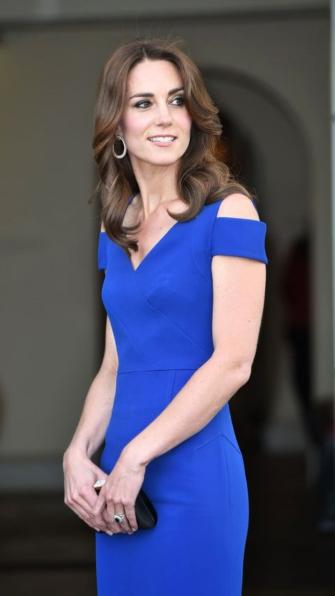 Kate Middleton Stuns in Blue Dress With Shoulder Cutouts: Photos - Us Weekly, Kensington Palace charity event 6/2016