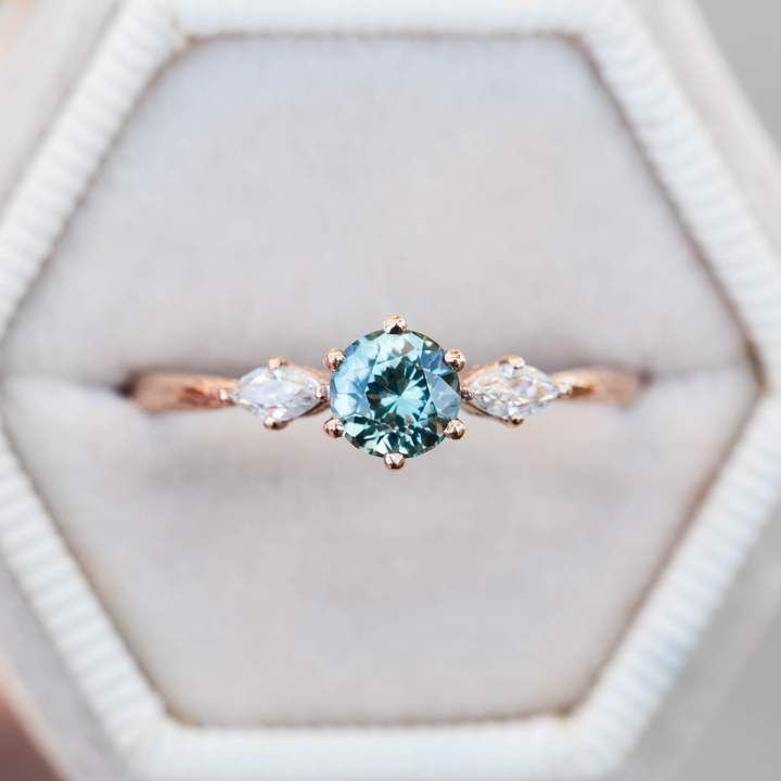 Etsy Teal Sapphire Marquise Twig Engagement Ring Blue Green Sapphire Engagem Sapphire Engagement Ring Blue Blue Engagement Ring Green Sapphire Engagement Ring