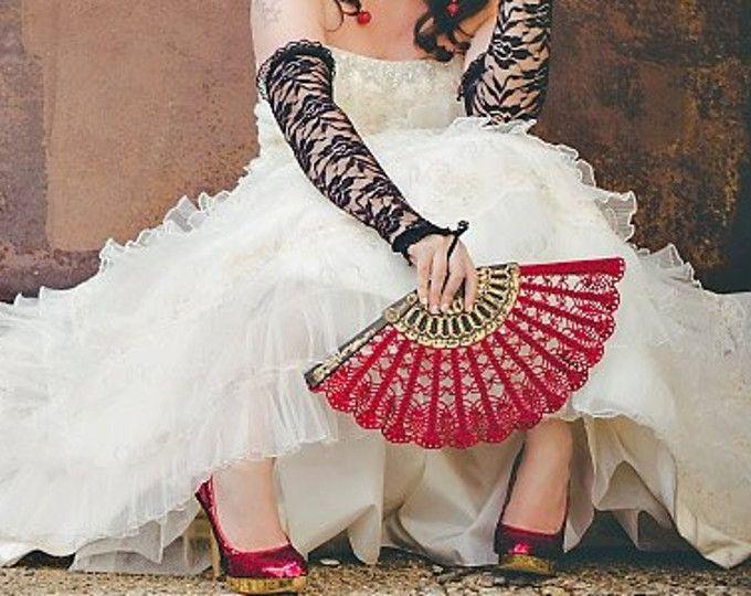 Encaje rojo vino ventilador - ventilador - regalo para su regalo bajo 50-encajes hechos a mano mano ventilador - plegable ventilador español boda ventilador - novia abanico MCC de mano