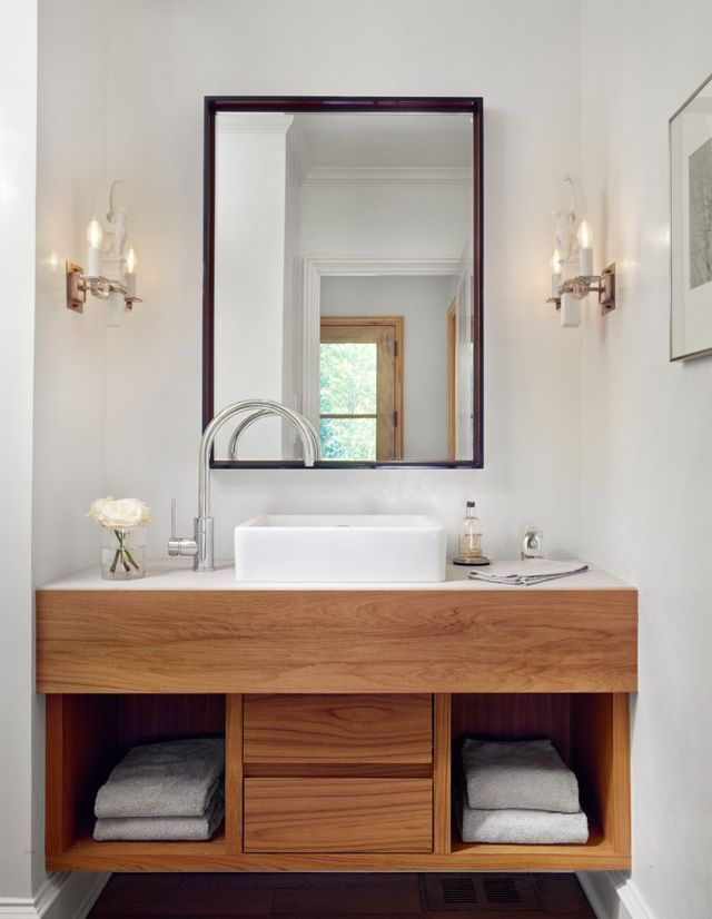 I Chose To Use Wood Vanities And White Quartz Countertops In Both