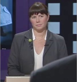 Åsa Romson, Sweden's Green Party Leader wearing Magnani organic wool and rubber pin.