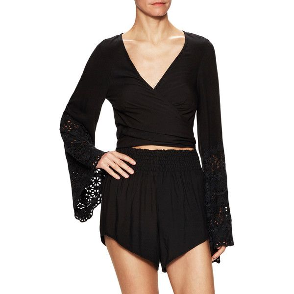 Winston White Women's Hermosa Embroidered Eyelet Romper - Black, Size... ($40) ❤ liked on Polyvore featuring jumpsuits, rompers, black, long-sleeve rompers, playsuit romper, v neck romper, long-sleeve romper and white rompers