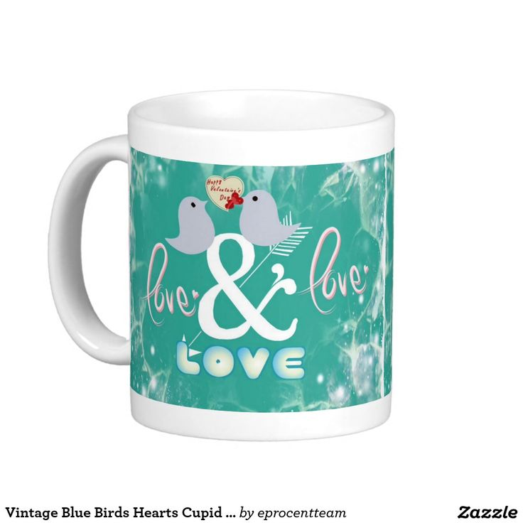Vintage Blue Birds Hearts Cupid Love Valentine Day Classic White Coffee Mug