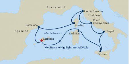 Routenkarte Mediterrane Highlights mit AIDAblu