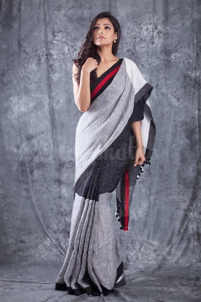 Black Grey Organic Linen Saree With Pompom & Black Border-LN061650888