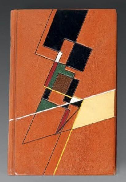 Genet (Jean)  Les Bonnes. Pièce en un acte... Sceaux, Pauvert, 1954; in-8 brad. chag. fauve, avec grand décor géométrique MOSAÏQUÉ sur les plats, bord. int. de fil. dor., couv. et dos (Mario Silva).