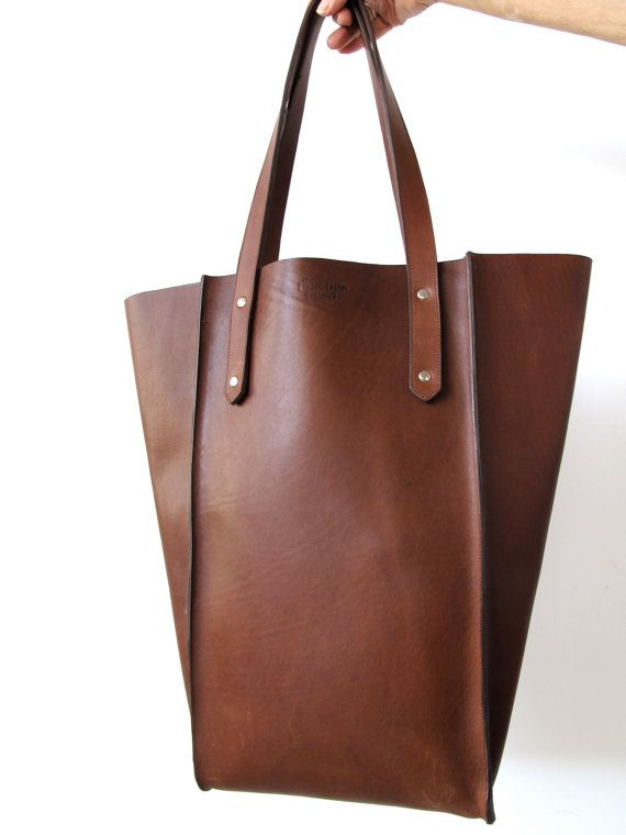 The Large Seamed Tote  Whiskey Leather by TheButcherByrd on Etsy