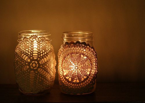 doilies: Crafts Paper, Crafts Ideas, Doilies, Crochet, Candles Holders, Paper Good, Make Candles, Mason Jars, Photo