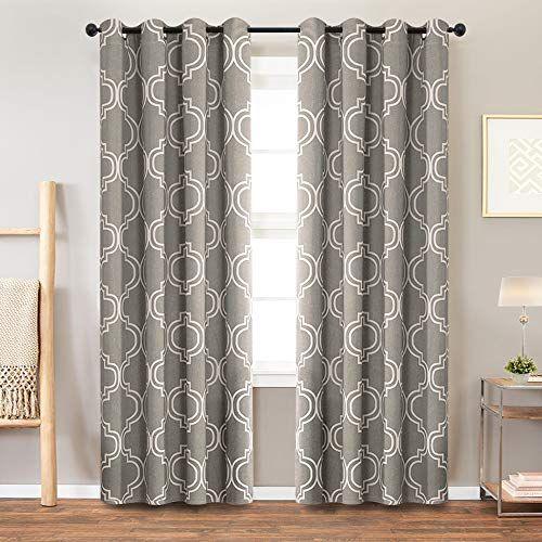 Vangao Room Darkening Curtains Quatrefoil Morrocan Tile Print Grey Drapes For Bedroom 84 Inch In 2020 Curtains Blue Drapes Morrocan Tile