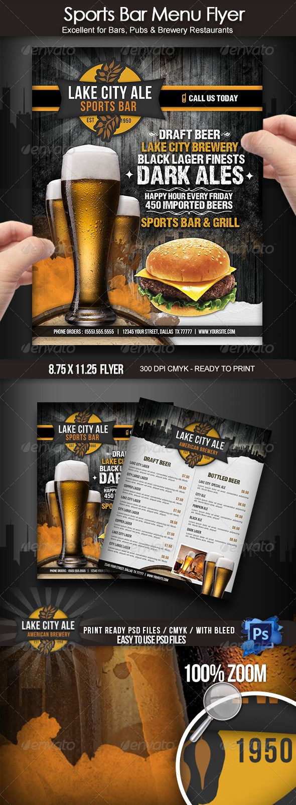 Sports Bar Menu Flyer tall glass • Available here → graphicriver