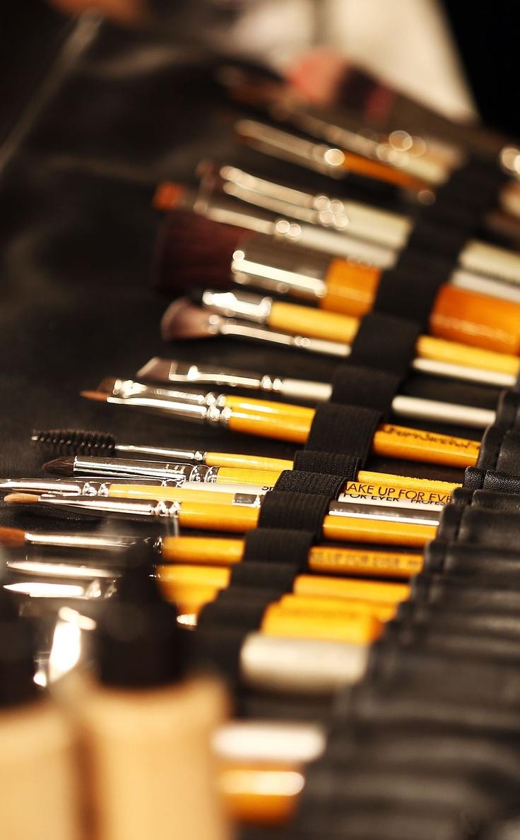 Make-up brushes backstage at #MBFWI