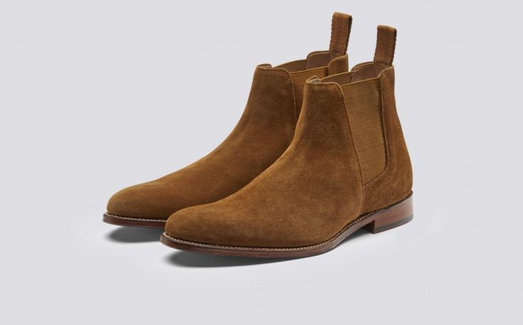 Declan | Mens Chelsea Boot in Snuff Suede with a Leather Sole | Grenson Shoes - Three Quarter View