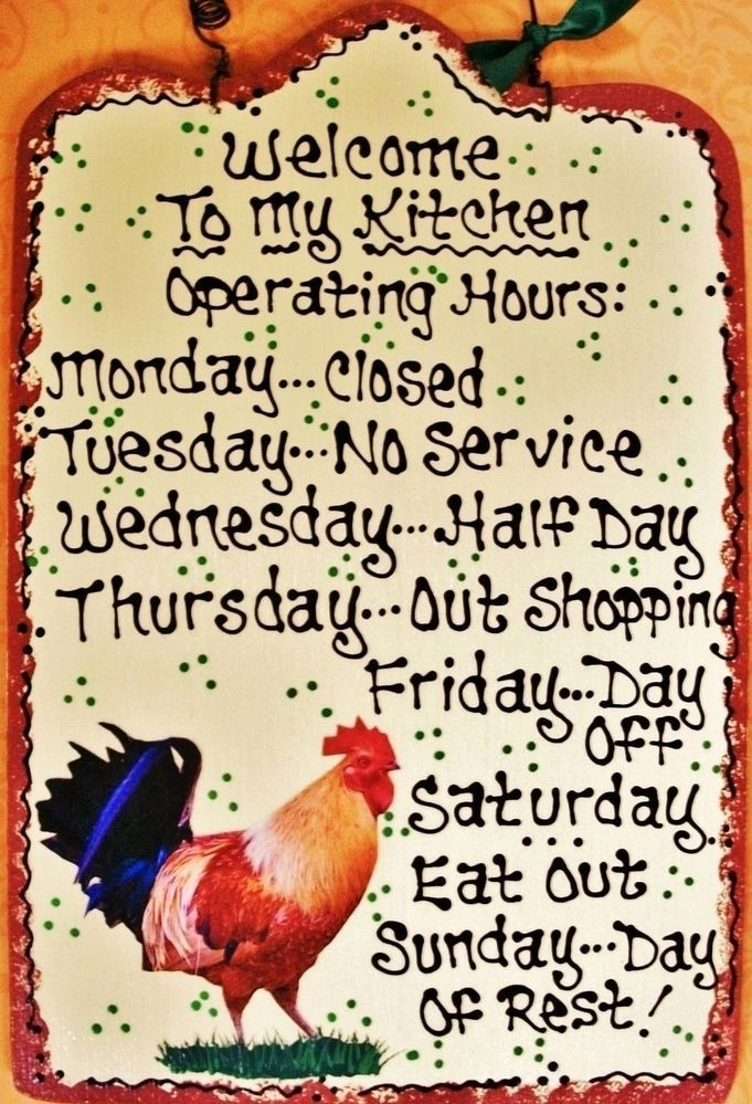 Almond 7x11 ROOSTER Kitchen Operating Hours SIGN Plaque Chicken Country  Decor