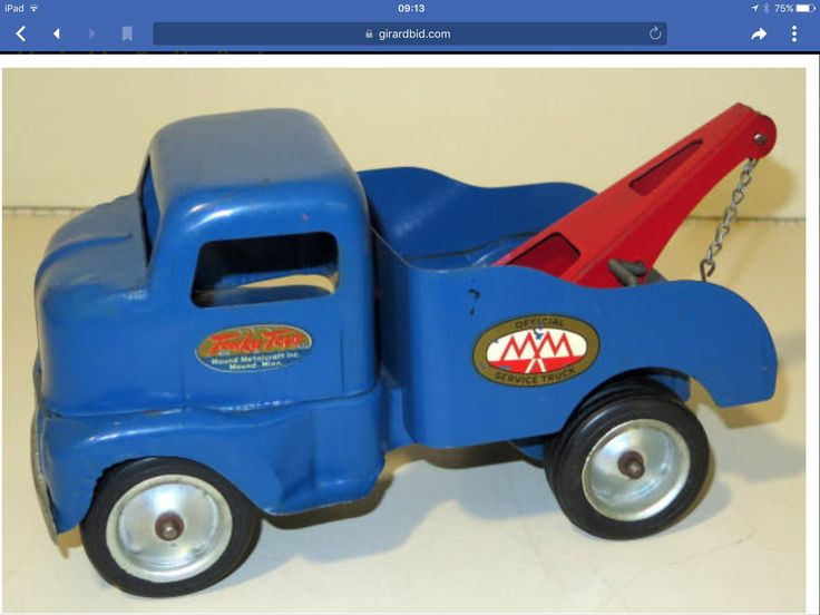 All Original Early 1950'S TONKA PRESSED STEEL, MM SERVICE WRECKER TOW TRUCK, CAB OVER