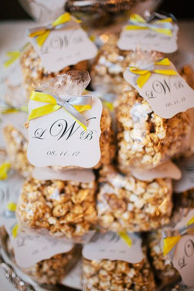 This is a great, light snack that guests can pop into their mouths when they feel like it.  Photo by Luke and Cat Photography via Style Me Pretty