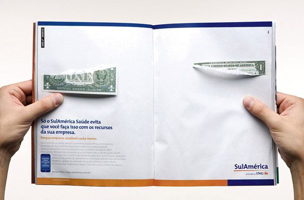 This is cool how they make it look like you ripped the dollar when you opened the page. It sends a message to the readers and it catches their attention