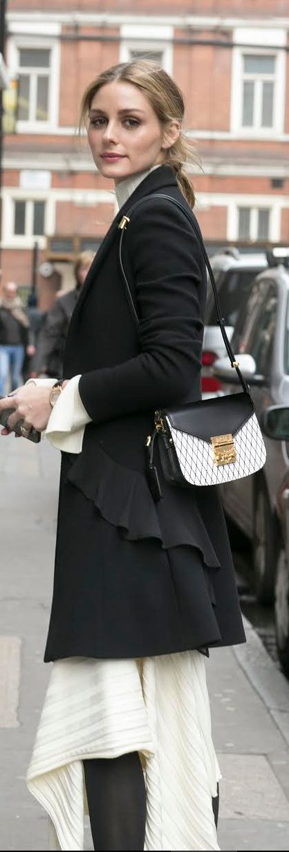 Who made  Olivia Palermo's white ribbed skirt, top, black ruffle coat, patent pumps, and print handbag?