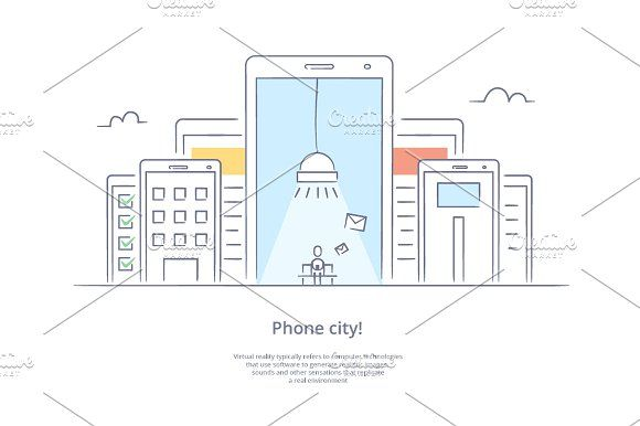 Phone city by Artur Stotch on @creativemarket