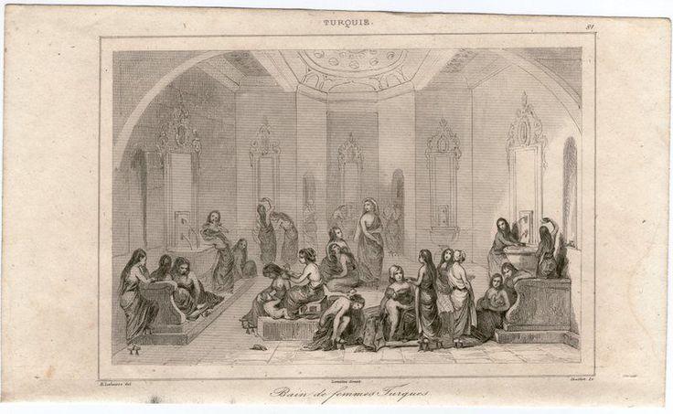 1841-STAMPA ANTICA-TURCHIA BAGNO TURCO FEMMINILE -LEMAITRE-OLD PRINT-54