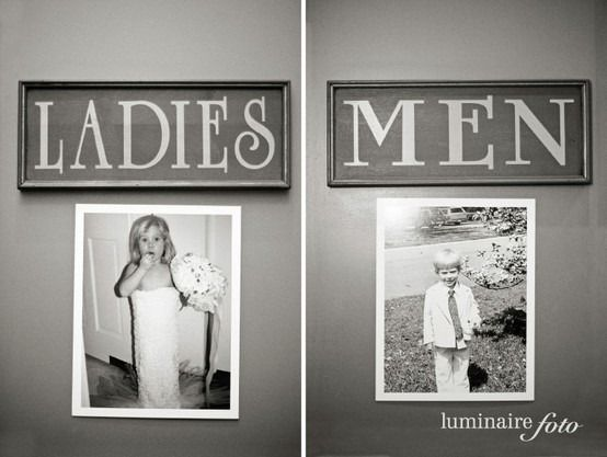 Funny Idea: Place old pictures of the bride and groom on the door of the bathrooms. It'll give the guests something to laugh about. Photography: Luminaire Foto