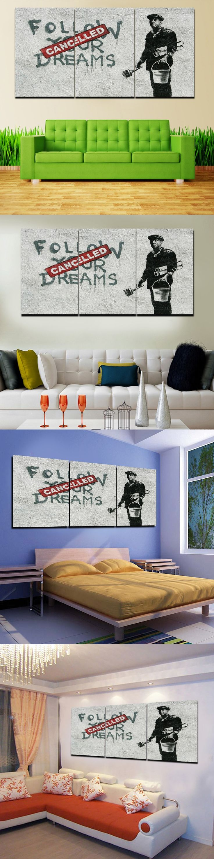 2016 Sale No Paintings Cuadros Hot 3 Pcs Banksy Wall Art Modern Hd Picture Home Decoration Living Room Canvas Print Painting $20.89