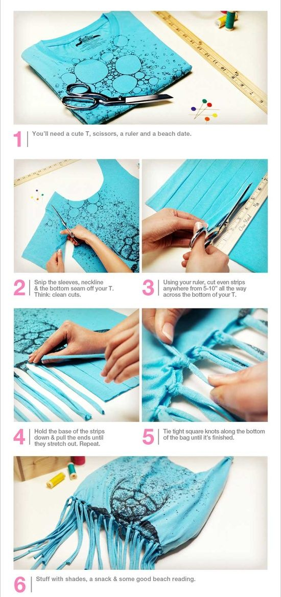 DIY Beach tote from a t-shirt tutorial. Super easy craft idea to upcycle those t-shirts that don
