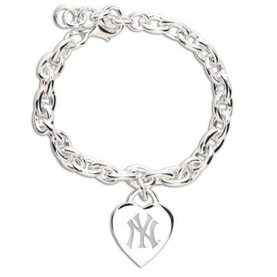 New York Yankees Ladies Silver Heart Charm Bracelet