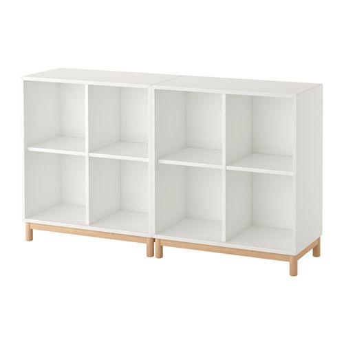 IKEA - EKET, Schrankkombination/Untergestell, weiß, , Durch Kombination von offener und geschlossener Aufbewahrung lässt sich Dekoratives und Nützliches nach Bedarf zeigen oder verbergen.Dank des integrierten Drucköffners lassen sich die Schubladen mit einem leichten Druck öffnen.