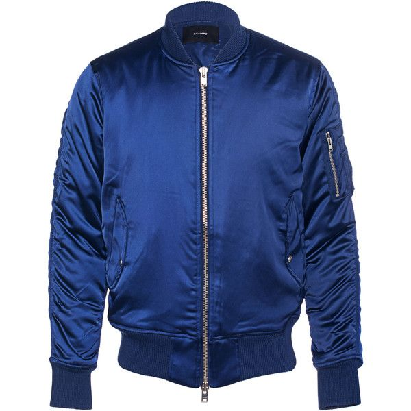 STAMPD Charmeuse Navy // Lined bomber jacket ($685) ❤ liked on Polyvore featuring men's fashion, men's clothing, men's outerwear, men's jackets, mens zipper jacket, mens zip jacket, mens short sleeve jacket, mens navy blue jacket and men's sherpa lined jacket