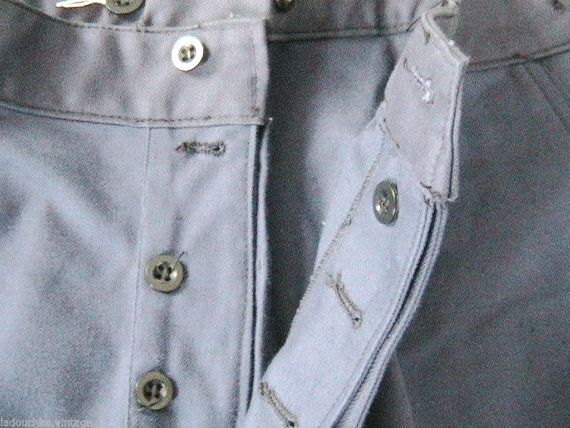 755.49 kr. French 1940s Men Work Blue Pants  Suspenders Buttons by ladouchka