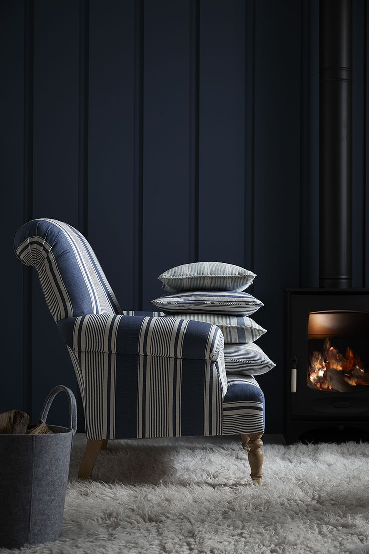 Sappertn Armchair in French Ticking Demin