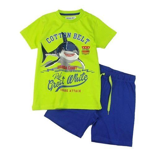 Completino per bambino, comporto da maglietta manica corta in fresco cotone, stampe squalo al centro, short elasticizzato coulisse, taschina applicata, Cotton Belt. Collezione P/E 2017. Composizione: 100% cotone - Varianti Colore: verde acido/blu - azzurro/blu notte - bianco/rosso