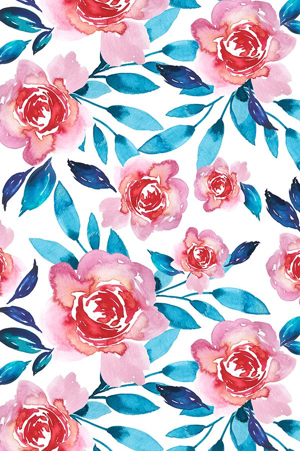 Bold watercolor florals by indybloomdesign. Hand painted florals in shades of pink and green/blue on fabric, wallpaper, and gift wrap. Beautiful watercolor floral pattern on a white background perfect for home decor. #homedecor #fabric #florals #watercolor #home #decorate