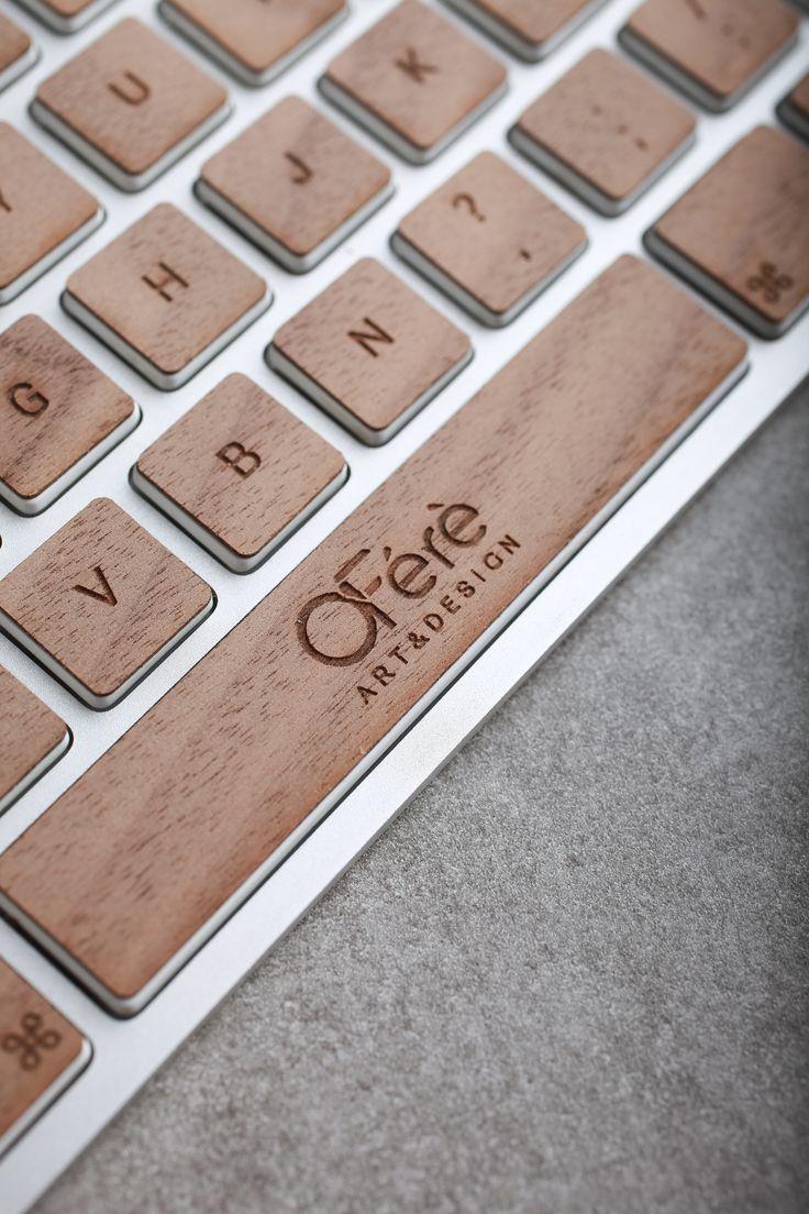 Stickers en bois pour clavier Macbook filaire ou sans fil en bois de noyer.   Protection pour touches de clavier azerty.