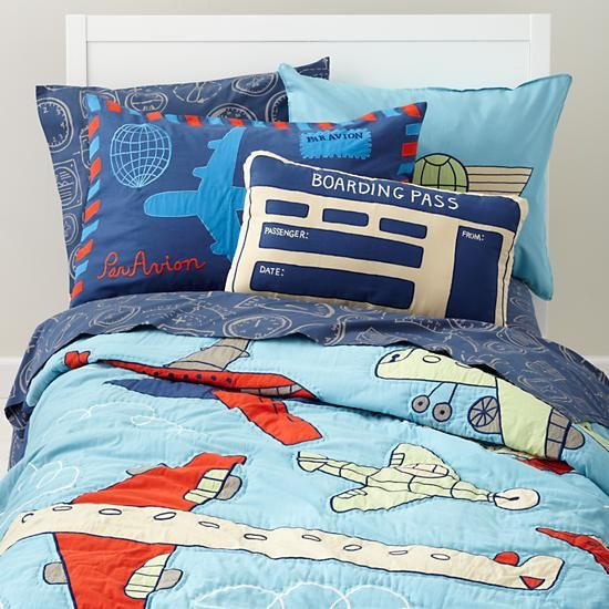 The Land of Nod | Kids' Bedding: Kids' Blue Airplane Themed Cotton Bedding in Boy Bedding