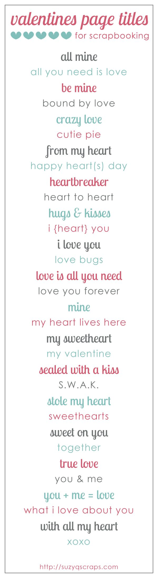 valentines {and love} scrapbook ideas | scrapbook page titles...journal pages, too