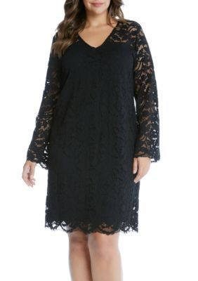 Karen Kane Black Plus Size Bracelet Sleeve Lace Dress