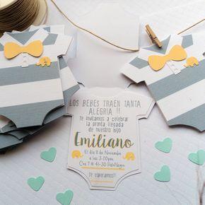 Invitaciones baby shower mameluco Papeleria Creativa https://instagram.com/ojosdepapel11/