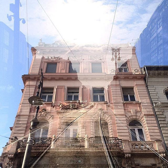 Building meets street scene  double exposure #doubleexposure #multiexposure #multipleexposure #budapest #hungary #streetscene #street #tramrails #windows #building #sky #dxe #dxp #twocitiesbudapest #craighullphoto #doubleexposeeurope #D_Expo #thisisbudape