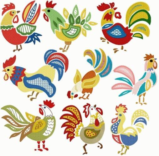 "Good Morning!   (no words - ""Swedish folkart chickens"")"