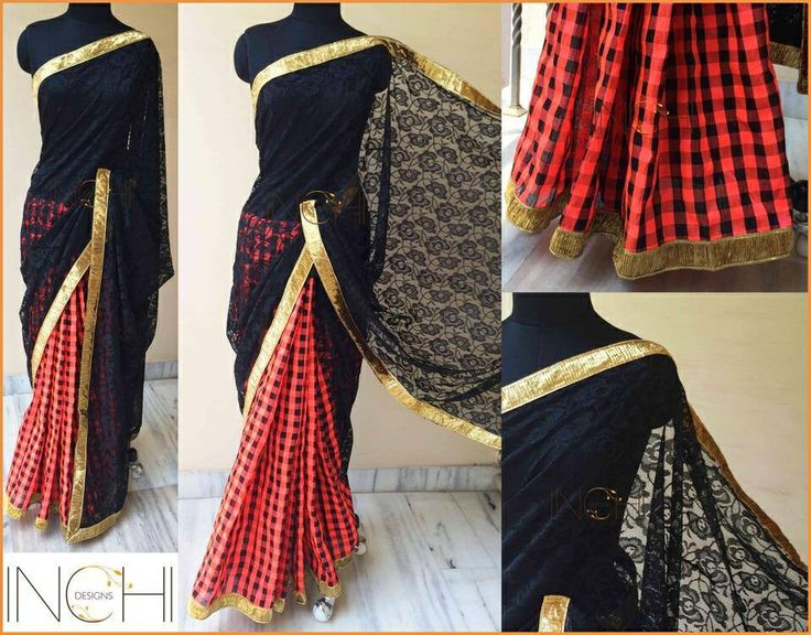 Code: ID0173 Price: Rs. 3170  Black net lace and neon peach-black checks semi raw silk sari with gold border  Blouse: Black silk cotton (1 metre)  To purchase this sari, please send a confirmation mail to inchidesigns@gmail.com
