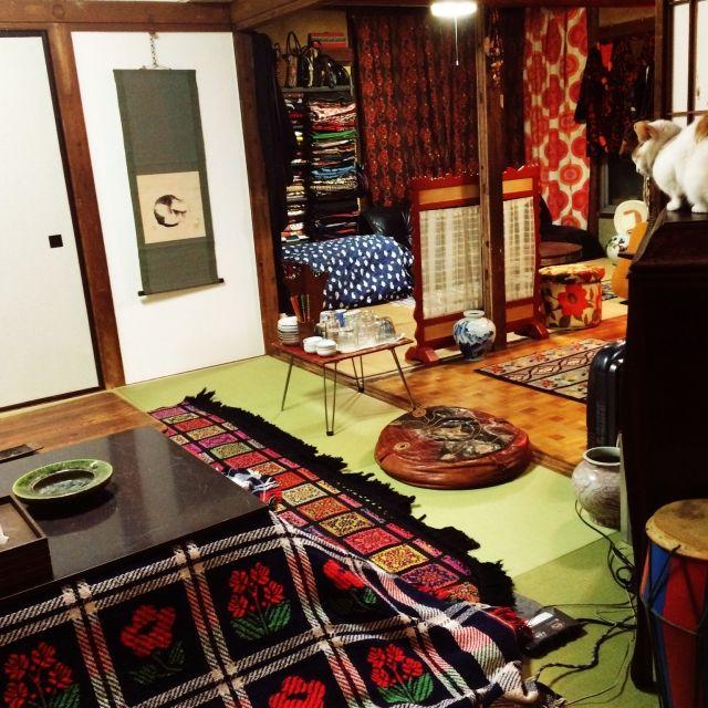 Hazukiさんの、ねこ部,ねこ,日本家屋,おもてなし準備,こたつ,レトロ,部屋全体,のお部屋写真