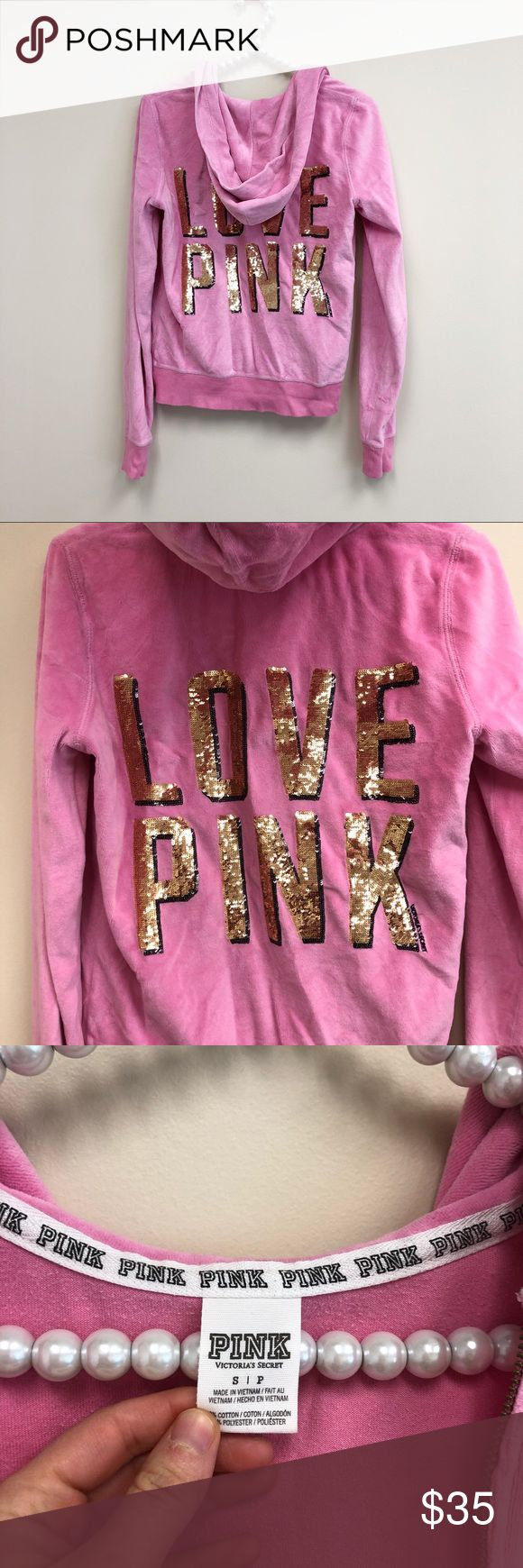 Victoria's Secret PINK Sequin Gold Zip Up Hoodie Excellent condition with little to no wear and tons of life left. Same day/next day shipping. Pet free/smoke free home. NO TRADES PLEASE PINK Victoria's Secret Sweaters