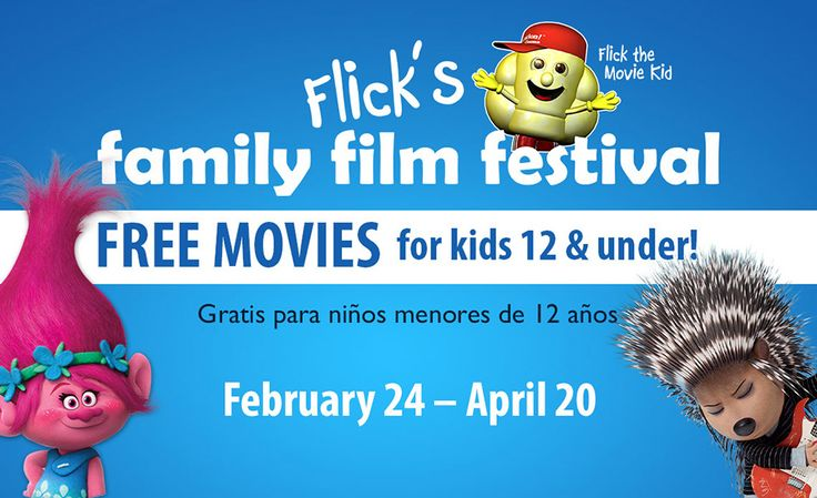 Free Kids Movies at Celebration Cinemas for February,March and April Flick's Family Film Festival will be returning to theaters FEBRUARY 24 - APRIL 20, 2017.  Flick's Family Film Fest features a fulllineup of movies FREE for kids and just $5.00 for adults at Celebration Cinema locations across West Michigan.  Each movie is in theaters for one