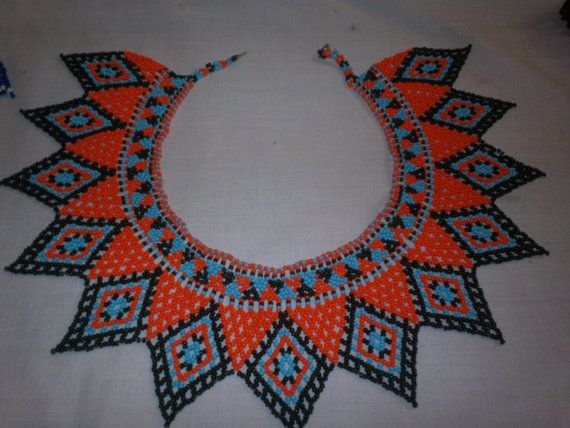 Custom Made Chaquira Ngobe-Bugle Indian Hand Beaded Collar Necklace and 2…